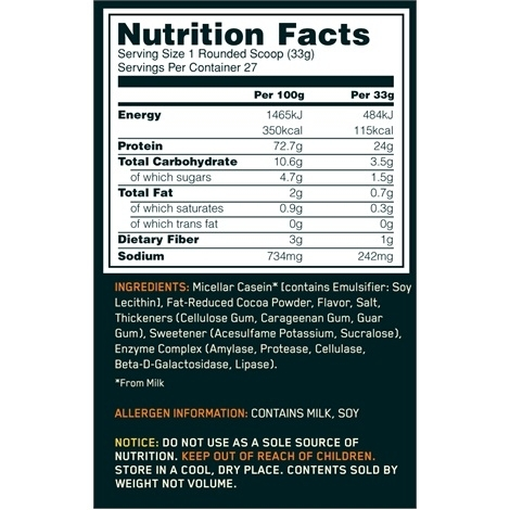 gold standard 100 casein ingredient list