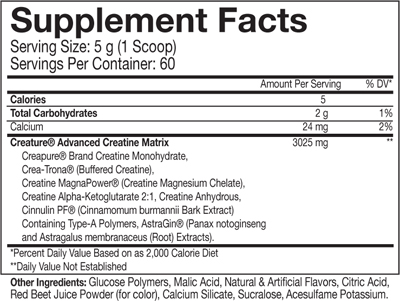creature creatine ingredients