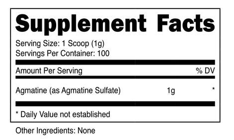 Raw Series Agmatine ingredients