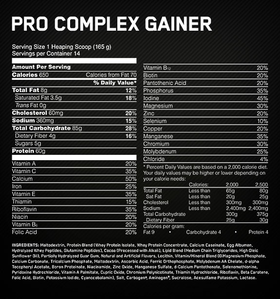 pro-complex-gainer-ingredients